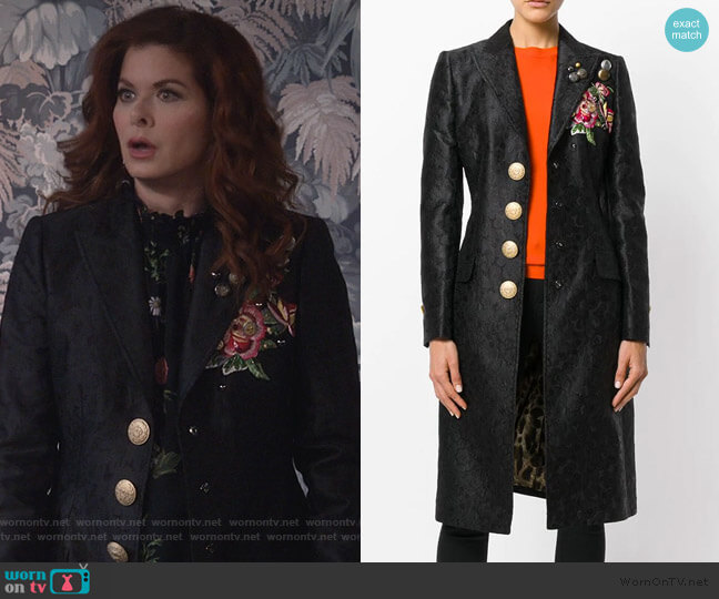 Embroidered Rose Patch Jacquard Coat by Dolce & Gabbana worn by Grace Adler (Debra Messing) on Will & Grace