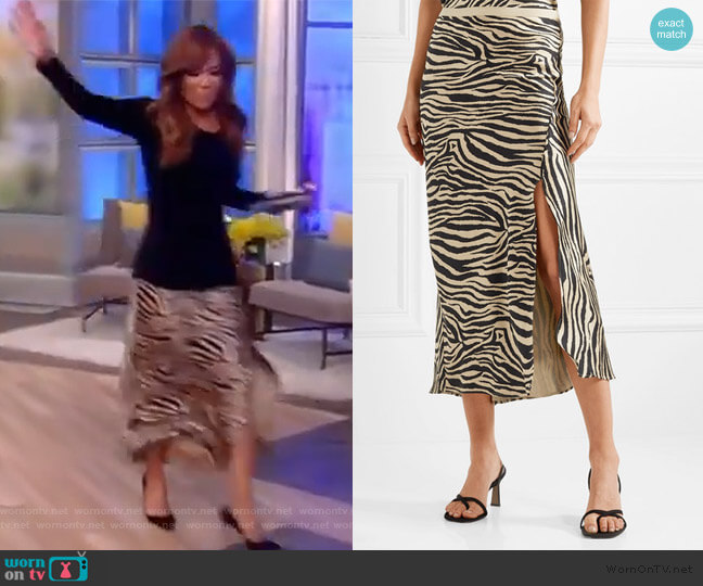 Dolly zebra-print silk-satin midi skirt by Anine Bing worn by Sunny Hostin  on The View