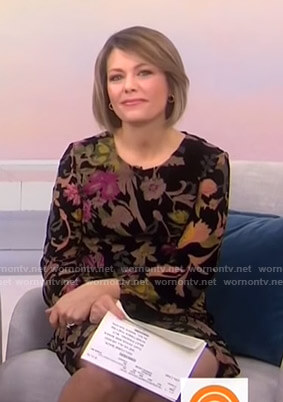 Dylan's black floral velvet dress on Today