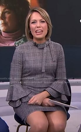 Dylan's grey plaid bell sleeve dress on Today