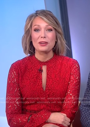 Dylan's red keyhole lace dress on Today