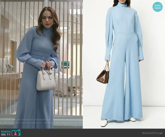 Flared Leg Jumpsuit by Emilia Wickstead worn by Fallon Carrington (Elizabeth Gillies) on Dynasty