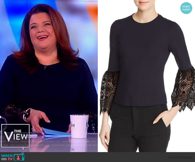 Amora Lace Cuff Blouse by Elie Tahari worn by Ana Navarro  on The View
