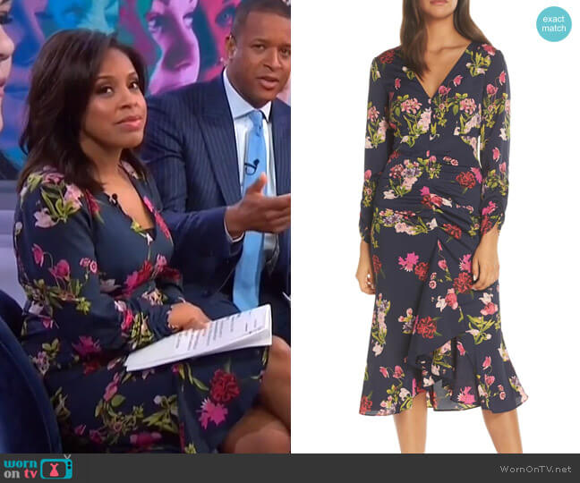 Floral Ruched Midi Dress by Eliza J worn by Sheinelle Jones  on Today