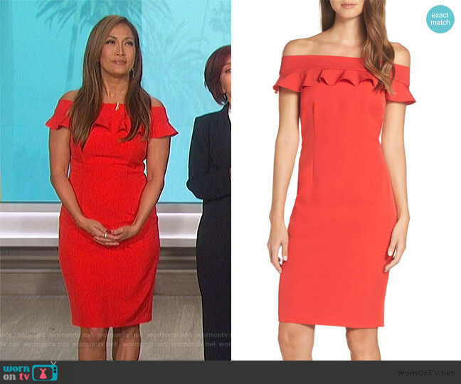 Ruffle Off the Shoulder Dress by Eliza J worn by Carrie Inaba  on The Talk