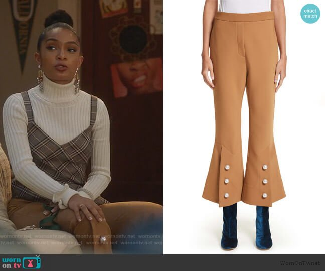 Fourth Element Crop Flare Pants by Ellery worn by Zoey Johnson (Yara Shahidi) on Grown-ish