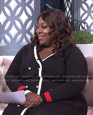 Loni's black button front sweater dress on The Real