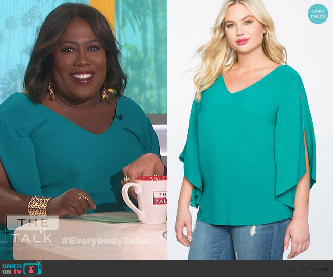 Flare Sleeve Bow Back Top by Eloquii worn by Sheryl Underwood  on The Talk