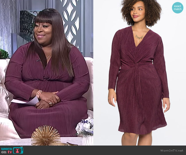 Knot Front Accordion Dress by Eloquii worn by Loni Love  on The Real