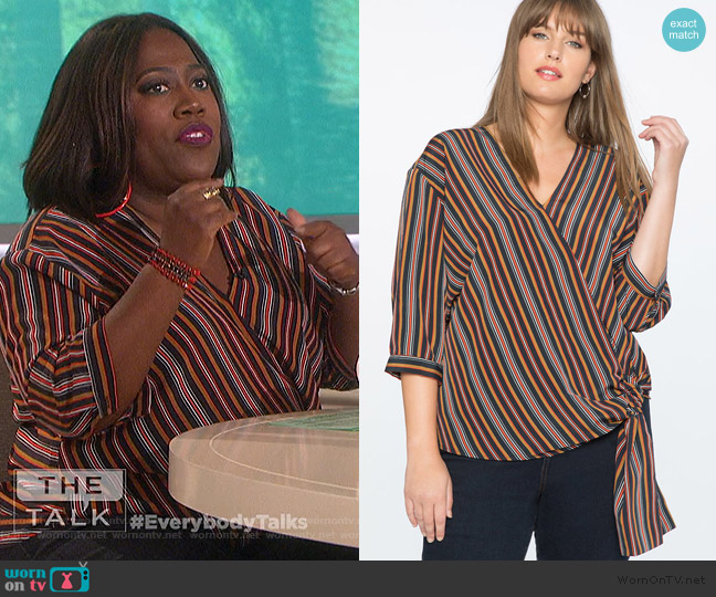 Striped Wrap Top by Eloquii worn by Sheryl Underwood (Sheryl Underwood) on The Talk