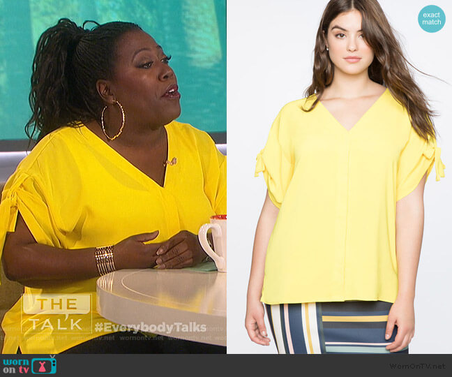 Tie Sleeve Top by Eloquii worn by Sheryl Underwood  on The Talk