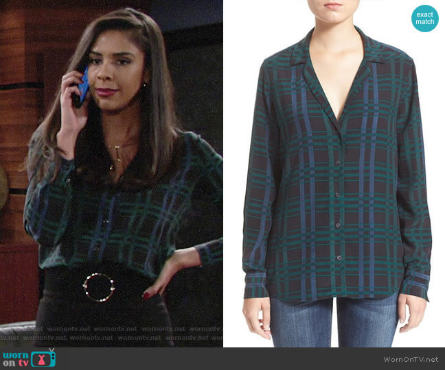 Equipment Adalyn Plaid Shirt  worn by Kerry Johnson (Alice Hunter) on The Young & the Restless