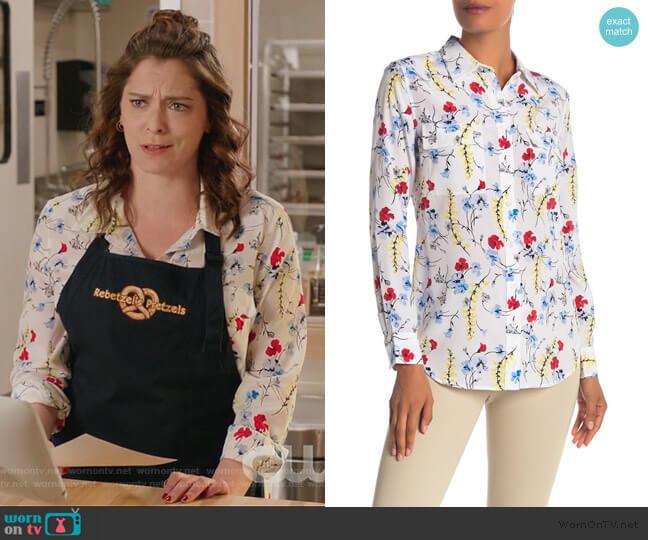 Slim Signature Button Up Silk Top by Equipment worn by Rebecca Bunch (Rachel Bloom) on Crazy Ex-Girlfriend