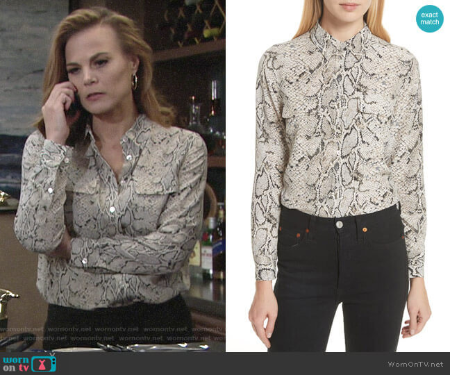 Equipment Slim Signature Python Print Shirt worn by Phyllis Newman (Gina Tognoni) on The Young & the Restless