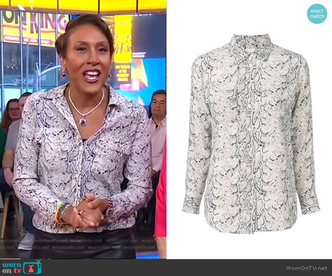 Snake Print Shirt by Equipment worn by Robin Roberts  on Good Morning America