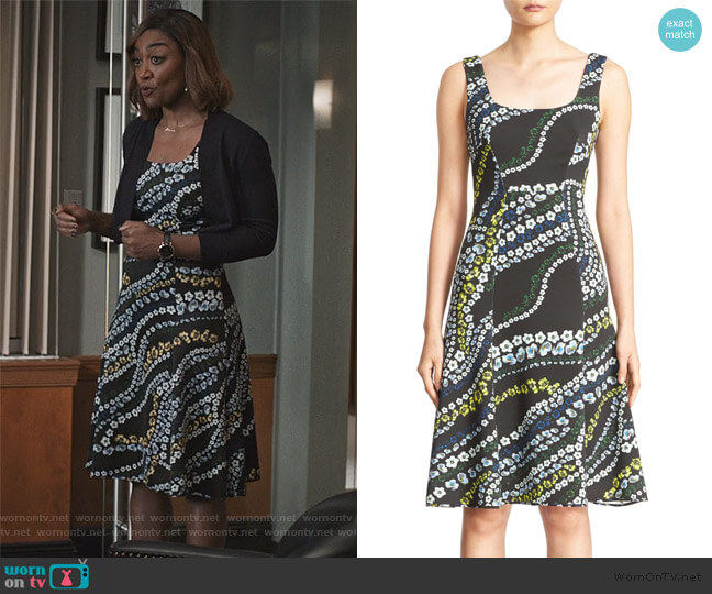 Tate Floral Print Neoprene A-Line Dress by Erdem worn by Daisy Grant (Patina Miller) on Madam Secretary