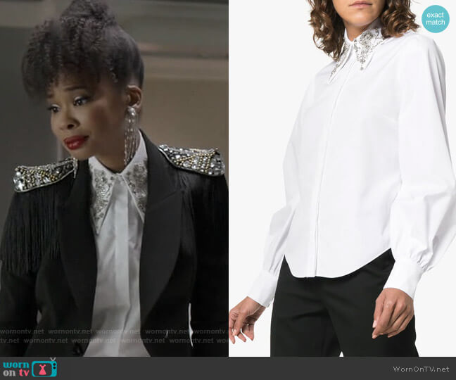 Eula Sequin Collar Shirt by Erdem worn by Monica Colby (Wakeema Hollis) on Dynasty