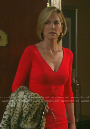 Eve's red v-neck dress and leopard zip front coat on Days of our Lives