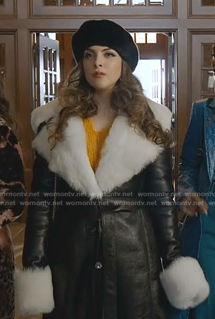 Fallon's black leather coat with fur collar on Dynasty