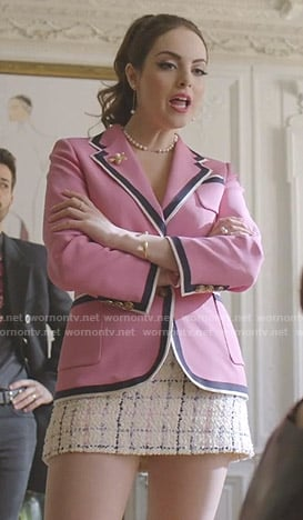 Fallon's pink blazer and tweed mini skirt on Dynasty