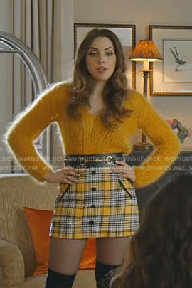 Fallon's yellow sweater and plaid mini skirt on Dynasty