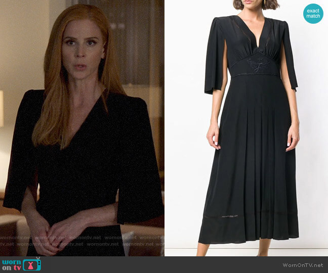 Fendi Cape Style Sleeves Dress worn by Donna Paulsen (Sarah Rafferty) on Suits
