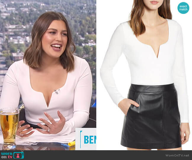 Fetch Notch Detail Bodysuit by Tiger Mist worn by Carissa Loethen Culiner (Carissa Loethen Culiner) on E! News