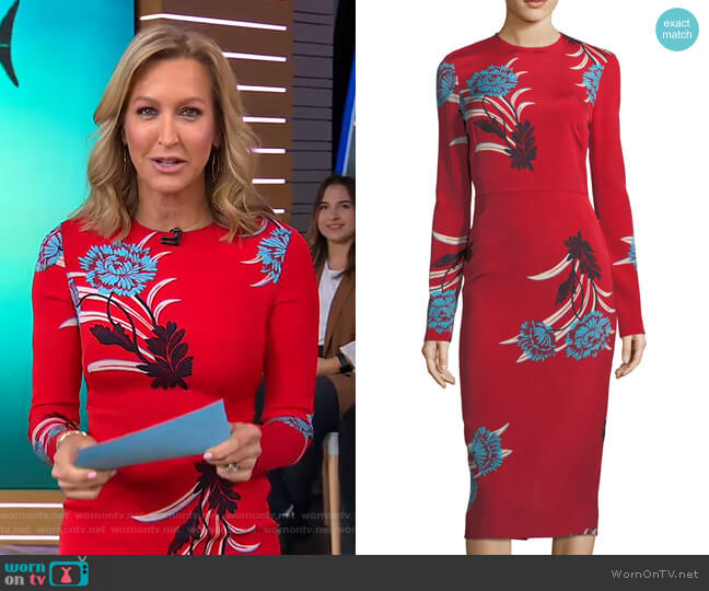Floral Sheath Dress by Diane von Furstenberg worn by Lara Spencer  on Good Morning America