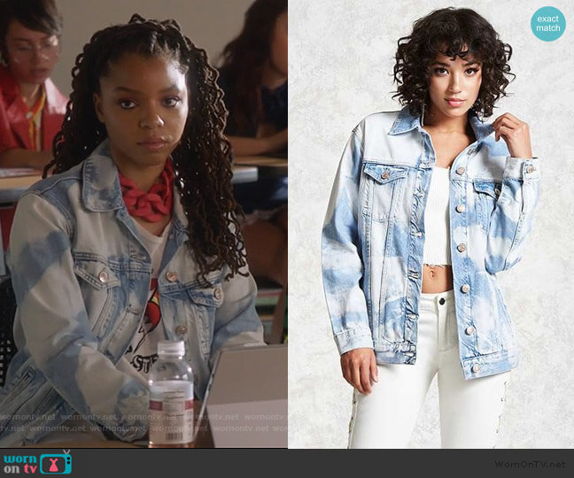 Bleached Denim Jacket by Forever 21 worn by Jazlyn Forster (Chloe Bailey) on Grown-ish