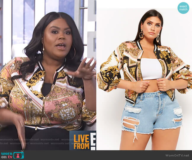 Plus Size Baroque Pickup Sleeve Bomber Jacket by Forever 21 worn by Nina Parker (Nina Parker) on E! News