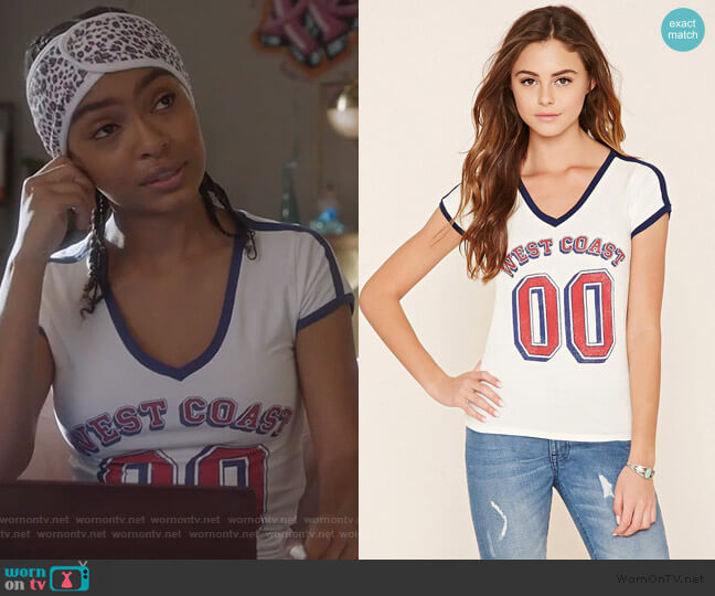 West Coast Graphic Top by Forever 21 worn by Zoey Johnson (Yara Shahidi) on Grown-ish