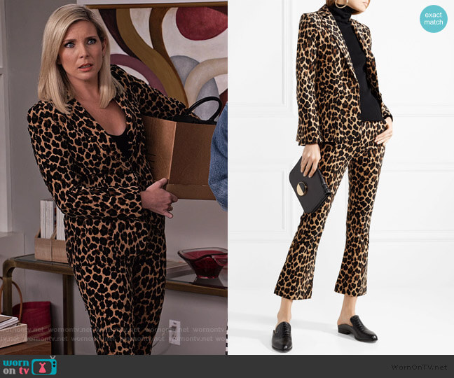 Leopard-print cotton-blend velvet blazer and pants by Frame worn by Brianna (June Raphael) on Grace & Frankie