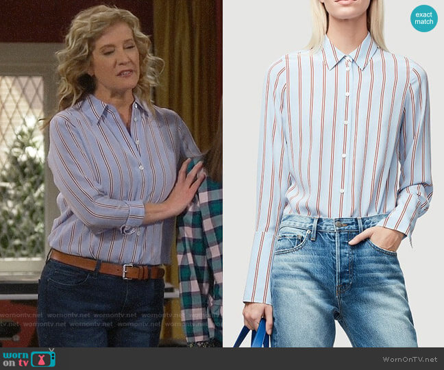 Frame Silk Button-Front Blouse worn by Vanessa Baxter (Nancy Travis) on Last Man Standing