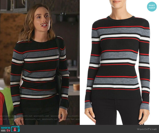 Striped Rib-Knit Sweater by Frame worn by Angie (Leighton Meester) on Single Parents