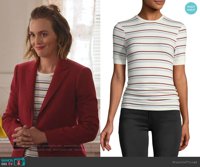 Striped Short-Sleeve Ribbed Tee by Frame worn by Angie (Leighton Meester) on Single Parents
