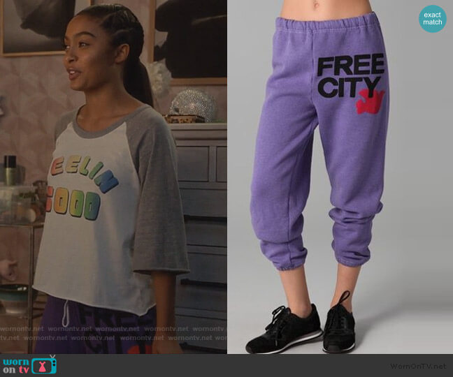 Logo Sweatpants by Free City worn by Zoey Johnson (Yara Shahidi) on Grown-ish