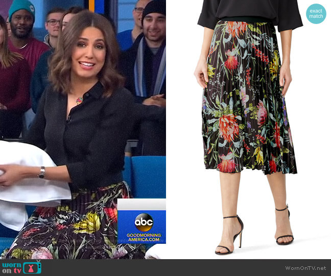 Black Floral Pleated Skirt by Fuzzi worn by Cecilia Vega  on Good Morning America