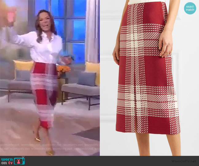 Checked wool-blend midi skirt by Gabriela Hearst worn by Sunny Hostin  on The View