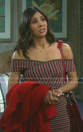 Gabi's striped crisscross top and skirt on Days of our Lives