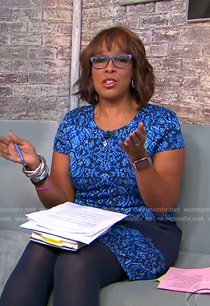 Gayle's blue printed short sleeve dress on CBS This Morning