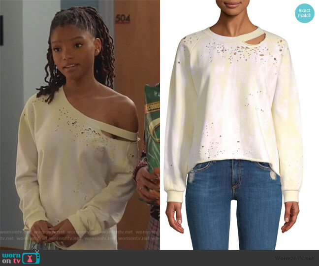 Tie-Dye Cut Out Sweatshirt by Generation Love worn by Skylar Forster (Halle Bailey) on Grown-ish