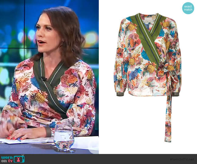 Submerge floral print wrap top by Ginger & Smart worn by Rachel Corbett  on The Project