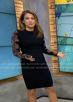 Ginger's black snake print sleeve dress on Good Morning America