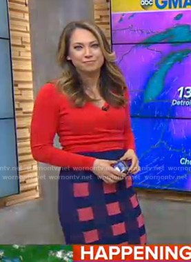 Ginger's red wrap sweater and checked skirt on Good Morning America