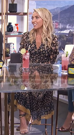 Giuliana's black printed v-neck dress on E! News Daily Pop