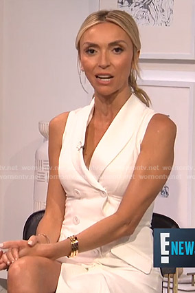 Giuliana's white sleeveless blazer dress on E! News