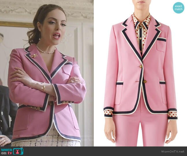 Cady Striped Trim Blazer by Gucci worn by Fallon Carrington (Elizabeth Gillies) on Dynasty