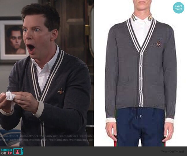 Cardigan wool knit with bee by Gucci worn by Jack McFarland (Sean Hayes) on Will & Grace