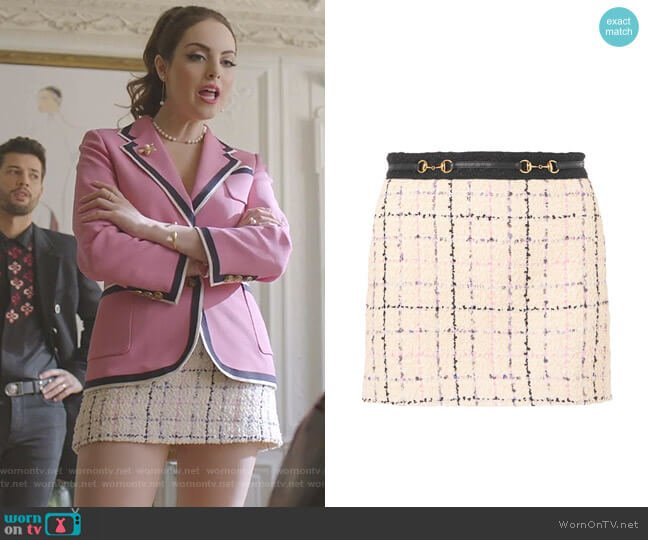 Romantic Tweed Mini Skirt by Guuci worn by Fallon Carrington (Elizabeth Gillies) on Dynasty
