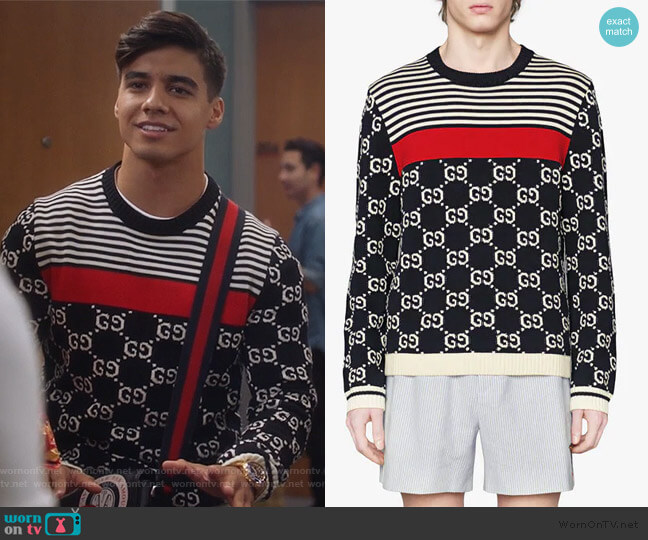 GG and Stripes Knit Sweater by Gucci worn by Vivek Shah (Jordan Buhat) on Grown-ish